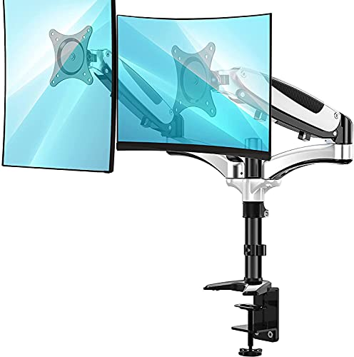 Huanuo Dual Monitor Stand - Height Adjustable Monitor Mount Fits Two 13 to 27 Inch Flat, Curved...