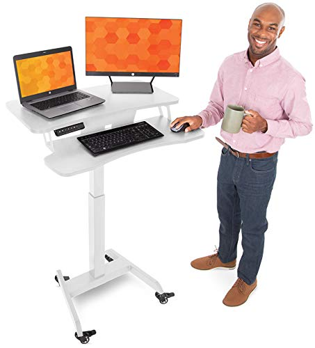 Stand Steady Electric Mobile Podium with Keyboard Tray | Height Adjustable Stand Up Workstation with Locking Wheels | Go from Sitting to Standing with Programmable Control Pad (White)