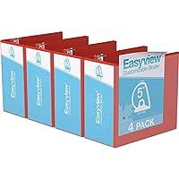 Easyview プレミアム アングルDリング カスタマイズ可能 ビューバインダー 6個パック (5インチ レッド)