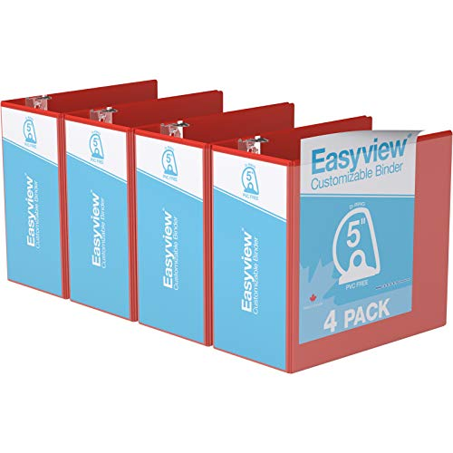 """Easyview Premium, Angle D Ring, Customizable, View Binder, 4 Pack (5"""", Red)"""