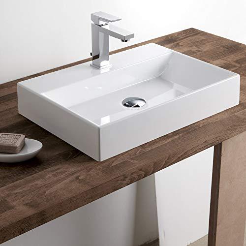 大型洗面ボウル (方形のセット) 陶器製 洗面ボウル 洗面ボール 手洗い鉢 洗面台 洗面鉢 手洗い器 洗面器 手洗器 置き型