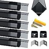 Perfil LED de aluminio – 10 x 1 metro de aluminio Perfil V- Forma negra anodizado Canal sistema para tira LED con tapa negra, boquillas, clips de montaje de metal