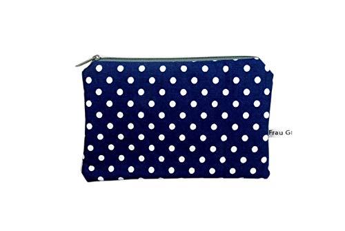 Mäppchen Täschchen blau Punkte Sterne grau weiß handmade