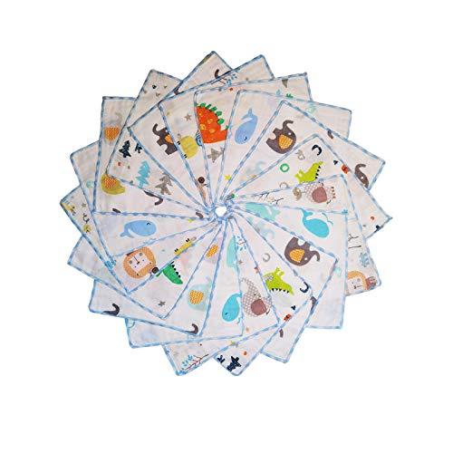 Baby Musselin Waschlappen aus Baumwolle 18 Stück, Kinderservietten, Baby Handtücher Set für Neugeborene, Weiche Baby Gesichtstücher und Badetuch, Weich und atmungsaktiv