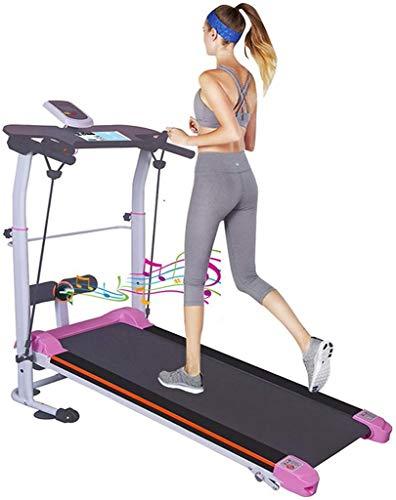 Cinta de correr mecánica portátil, máquina para caminar plegable, Home G-ym, cinta de correr para caminar de dos ruedas, máquina de ejercicio para correr con correa de fitness, pantalla LCD (multicolo