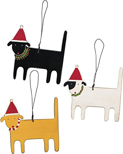 Primitives by Kathy Rustic Wood Ornaments, Set of 3,, White, Black, Yellow (23155)