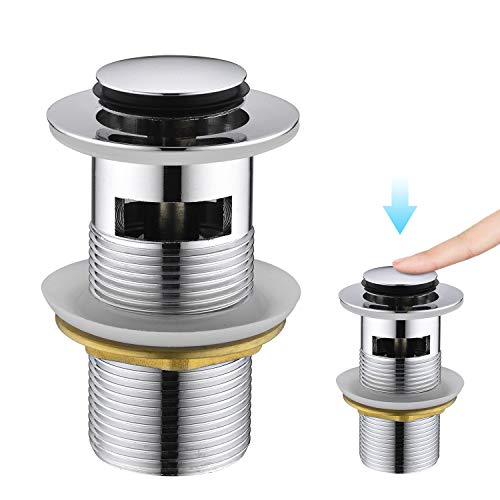 CREA Tapones de Desagüe Lavabo, Universal Click-Clack Válvula Desagüe con Rebosadero, Pop-Up Válvula Desagüe, Cromado