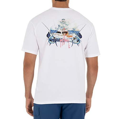 Guy Harvey Men's Billfish Fishing Short Sleeve T-Shirt, Bright White, Small