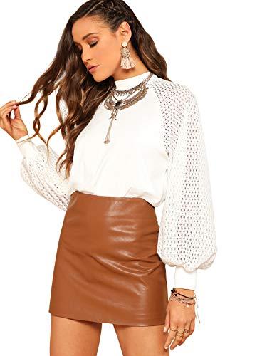 Floerns Women's Loose Drop Shoulder Lantern Sleeve Fashion Pullover Sweater Tops White S