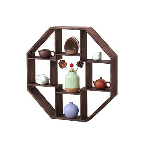 HLZ Floating Shelves Solid Wood Tea Set Shelf Teapot Display Stand Crafts Antique Ornaments Frame Stable Storage Shelf for Living Room, (Size : Diameter 80CM)