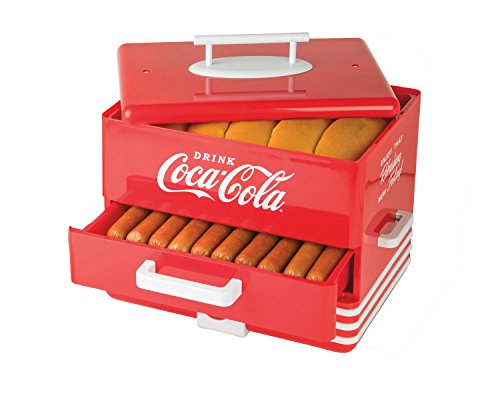 Nostalgia HDS248COKE Large Coca-Cola Diner-Style Steamer, 24 Hot Dogs and 12 Bun Capacity, Perfect...