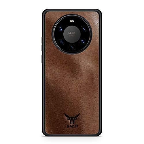GAZZI Lederhülle für Huawei Mate 40 PRO Hülle Hülle Schale Backcover Handyhülle Schutzhülle Echt Leder, R&umschutz, Flexible Schale (Vedette Cognac)