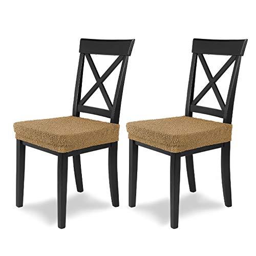 SCHEFFLER-Home Housse de Chaise Extensible « Jacquard Lea » / Lot de 2 / Beige / Housse de Chaise élastique / Housse de siège pour Chaise à Manger / Housse élégante