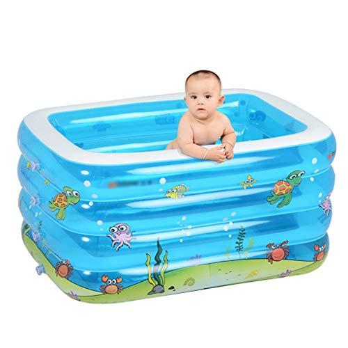 WH SHOP Bañera Hinchable para Bebé, Mini Piscina Extra Gruesa para Bebés, Azul, Bañera de Ducha de Viaje Portátil para Bebés y Niños (143x105x75 CM)