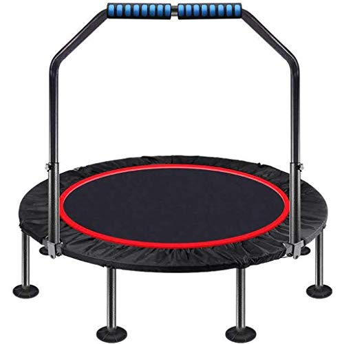 Tll-mm Mini Trampoline 40 inch Foldable Trampoline with Adjustable Handle Great for Body Fitness Training Indoor/Garden/Workout