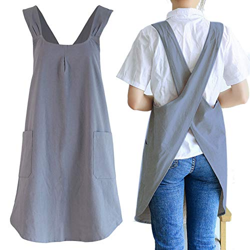 Japanese Linen Cross Back Kitchen Cooking Aprons for Women with Pockets Cute for Baking Painting Gardening Cleaning Gray