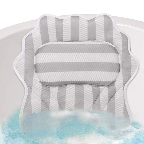 Magicfun Cuscino da Bagno Antiscivole con 6 Ventose Potente Cuscino Morbido per Vasca da Bagno con 1 Borsa della Lavanderia Cuscino Spa per Vasca Diff