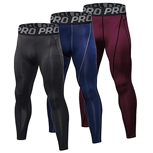 Minghe 3 Pack Mens Compression Tights Cool Dry Base Layer Sports Running Leggings Cycling Trousers for Workout Athletic Training Gym