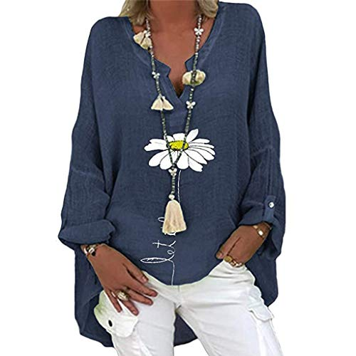 Yowablo Bluse Damen Hemden Hemdbluse Bluse Top Frauen Plus Size Lässig Langarm Blumendruck Hemd mit Lockerem V-Ausschnitt ( XL,2Marine )