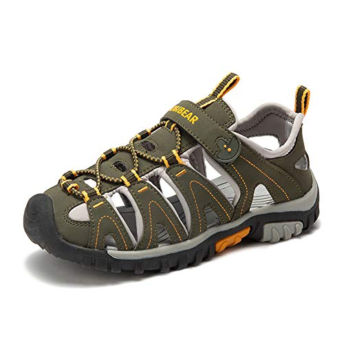 Sommer Strand Geschlossene Sandalen Klettverschluss Outdoor Wanderschuhe Ultraleicht Breathable Schuhe Flach Jungen Mädchen Kinder(EU 24 - Schuhe Innenlänge 15.0cm,Armee Grün)