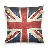 Linomo Kissenbezug 40x40 cm, Jahrgang UK Flagge Union Jack Englisch England Dekorative Kissenbezug Kissenhülle für Couch Sofa Bett Hause