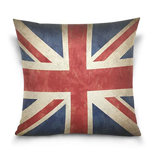 Linomo, Federa Decorativa per Cuscino, 40,6 x 40,6 cm, con Bandiera Inglese, Stile Vintage, per Divano e Letto, Cotone, Multicolore, 20' x 20' (50 x 50 cm)