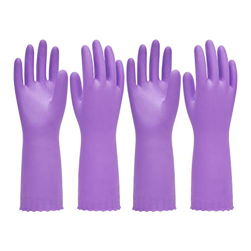 Pacific PPE 2Pairs Household Glove Reusable Cleaning Dishwashing Gloves-Latex Free Waterproof PVC Gloves for Kitchen,Gardening Gloves Flocked with Cotton Liner(Purple,M)