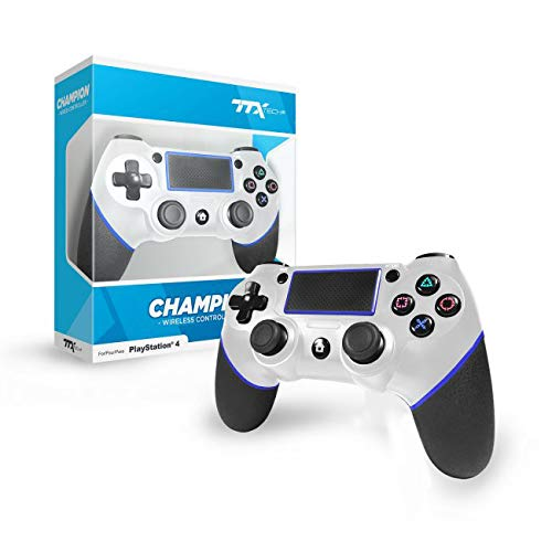 TTX Tech Champion Wireless Controller White – Easy Pairing PS4 Gaming Remote with 4-Face Button Layout, Analog Sticks, Headset Support, 3.25 ft. Cable | Gaming Consoles