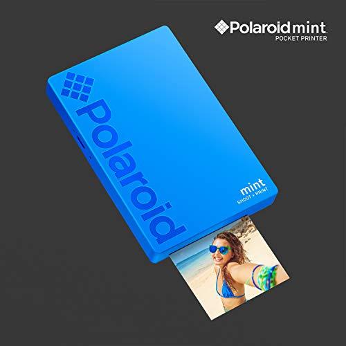Polaroid Mint Impresora de bolsillo con Tecnología Zink Zero Ink papel adhesivo 5 x 7.6 cm - Bluetooth para Android y iOS (Azul)