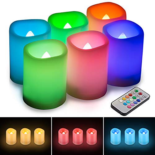 KOHREE 6 LED Kerzen mit Timer Outdoor Flammenlose Elektrische Kerzen Flackernde Teelichter Flamme Farbwechsel mit Timer Fernbedienung für Draußen Innenbereich, Dekoration für Vatertag, Party, Hochzeit