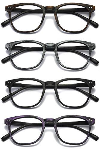 VEVESMUNDO Lesebrillen Herren Damen Kunststoff Holz Federscharnier Rechteckig Leicht Groß Klar Vintage Arbeitsplatzbrille Nerdbrille Hornbrille Lesehilfe Sehhilfe Brillen (4 Lesebrillen, 1.25)