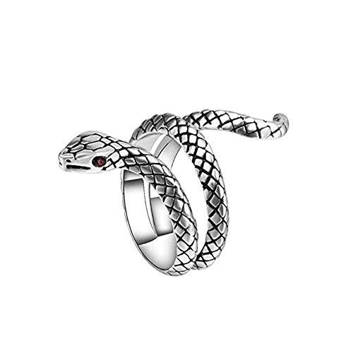 Xiton 1 PC Anneau Ouvert Serpent Bague Gothique Punk RéGlable Bague Animal Simple Plaqué Argent Bague Vintage Serpent Bijoux RéTro pour Femmes Et Hommes (Argent Ancien)