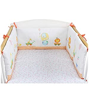 180CM Boys Girls Crib Bedding Liner Protector Bed Cradle Safety Rail Guard Cover 3-Side, Thicken Padded Bed Protection Sleep Pillow, Crib Rail Protector Cover, Nursery Decor Newborn Gift
