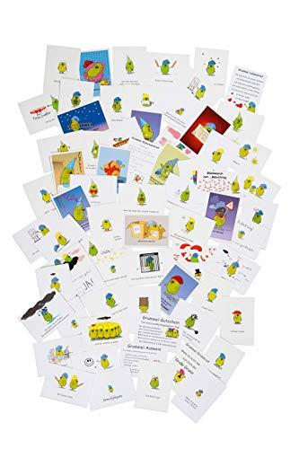 10er Set Postkarten lustig mit Sprüchen und Comic-Motiv Grummelzwerg - Grummelkarten (70er Alle Motive)