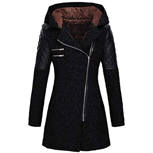 Sannysis Ledermantel Winter Outwear Hooded Zipper Mantel Damen Warm Slim Fit Patchwork Leder Jacke Trenchcoat Wintermantel Übergangs Parka Lang Winterjacke (5XL, Schwarz)