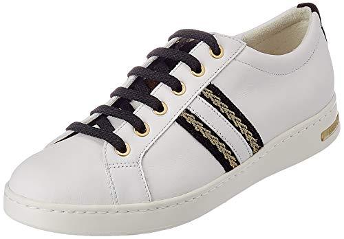 Geox D Jaysen A, Sneaker Mujer, Blanco/Negro, 38 EU