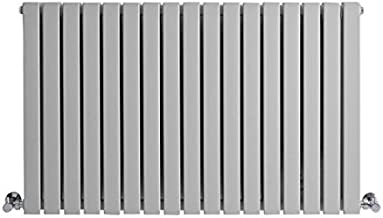 Hudson Reed - Sloane - Modern Designer Double Flat Panel Horizontal Radiator In Light Gray Finish - 25