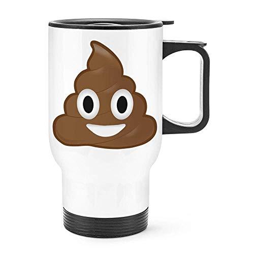 Lustiger Kot-Emoji-Thermo-Thermobecher aus Edelstahl mit Kot-Motiv, Geschenkidee für Kaffee, ca. 400 ml