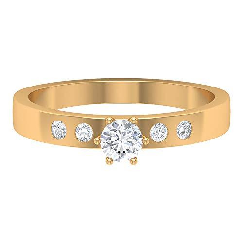 Anillo de boda solitario, anillo de compromiso, anillo nupcial único, anillo HI-SI 0,35 quilates redondo de diamante, anillo de aniversario, anillo de promesa, 10K Oro amarillo, Size:EU 56