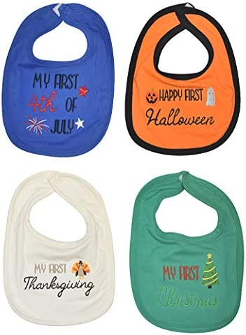 Unique Baby My First 4th Halloween Thanksgiving Christmas Baby Bib 4 Pack product image