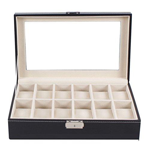 WINOMO Portatile PU morbido 12-slot da polso orologio Display Box vetrina con serratura deposito caso Organizzatore (nero)