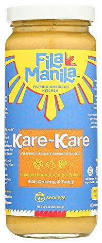 Fila Manila Kare-Kare – Filipino Peanut Simmer Sauce & Marinade – Savory Peanut, Garlic, & Onion, 12 oz jar, NO SUGAR Added, NO MSG Added, Vegan, Gluten Free, Dairy Free, Made in the USA