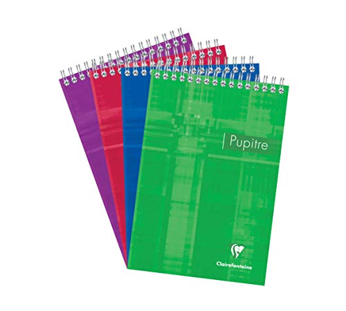 Clairefontaine Head Wirebound Pad, A5, Squared, 90g, 80 Sheets - Assorted Colours, Pack of 5