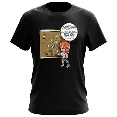 T-Shirt Homme Noir Parodie One Piece - Nami - Les prévisions de Météo Pirate pour Le Prochain épisode ! (T-Shirt de qualité Premium de Taille M - imprimé en France)