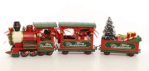 Clever-Deko Nostalgie Blecheisenbahn Lokomotive Eisenbahn Retro rot 3 Teilig Weihnachtsdeko Weihnachten groß Merry Christmas Weihnachtszug