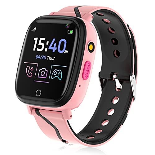 Smartwatch für Kinder, Telefon Uhr für Mädchen Jungen 4-12 Jahren Touchscreen Telefonfunktion Smartwatch mit Anruffunktion Spiele Musik Player Taschenlampe Kamera Wecker Geschenk (Rosa)