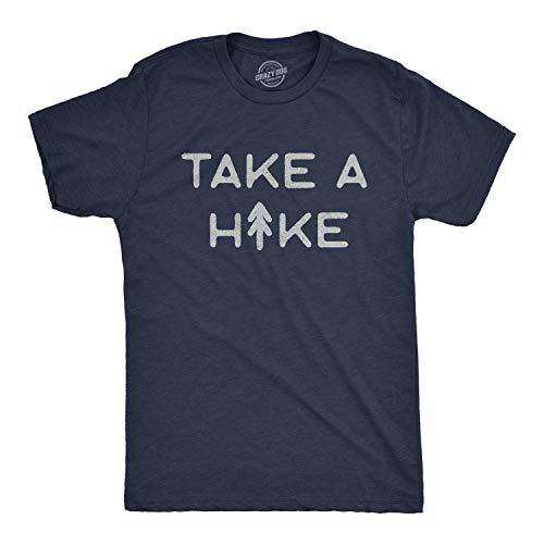 Crazy Dog T-Shirts Camiseta divertida para hombre con texto en inglés «Take A Hike», Azul marino (Heather Navy), Medium