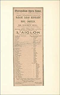 Sarah Bernhardt - Program Signed Circa 1901