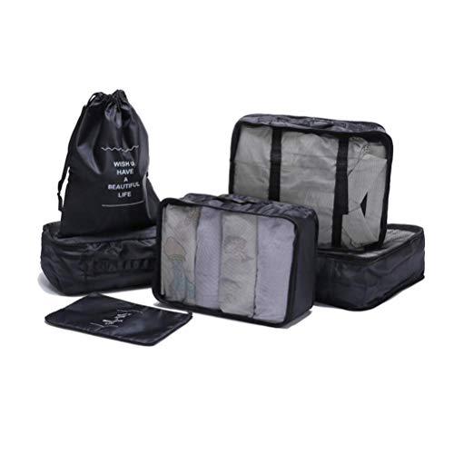 CHUTD Bolsa de Almacenamiento portátil de Organizador de Viaje Bolsa de Ropa de Tela Resistente Resistente al Agua Azul, Paquete de 6, Negro