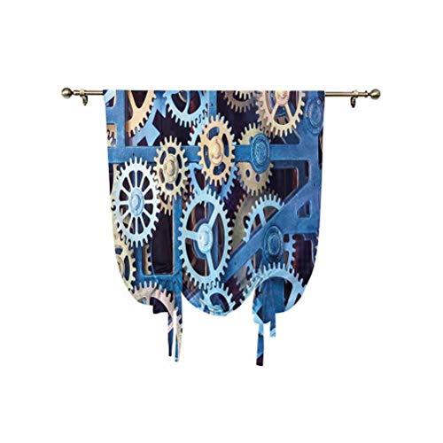 Juego de cortinas romanas para decoración de reloj, con diseño mecánico de engranajes de acero, con aislamiento térmico, 95 x 150 cm, para ventanas del hogar, color azul y marrón arena